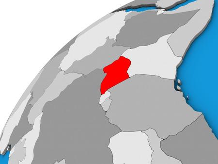 Uganda on 3D globe. 3D illustration.