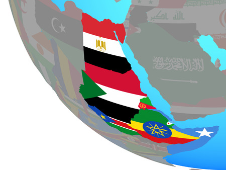 Northeast Africa with national flags on simple globe. 3D illustration.