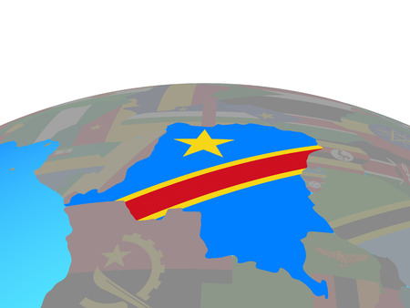 Dem Rep of Congo with national flag on political globe. 3D illustration.