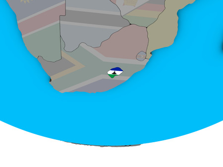 Lesotho with embedded national flag on simple political 3D globe. 3D illustration. Stock Photo