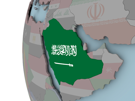 Saudi Arabia with embedded flag on political globe. 3D illustration. Stock Photo
