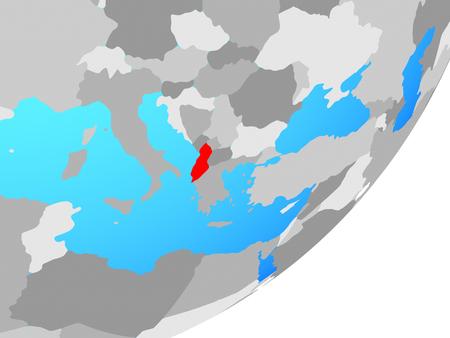 Albania on blue political globe. 3D illustration. Stock Photo