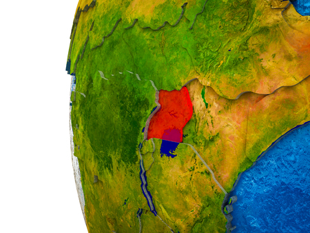Uganda highlighted on 3D Earth with visible countries and watery oceans. 3D illustration.