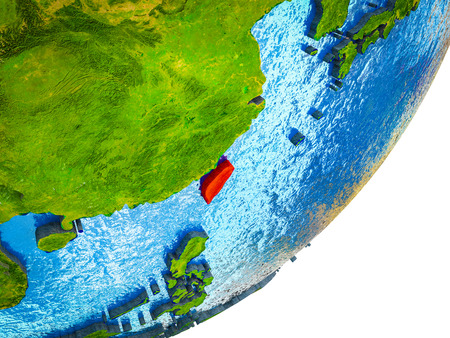 Taiwan on 3D model of Earth with water and divided countries. 3D illustration.