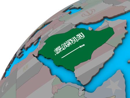Saudi Arabia with national flag on 3D globe. 3D illustration. Stock Photo