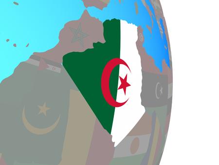 Algeria with national flag on simple political globe. 3D illustration.