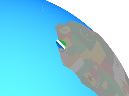 Sierra Leone with national flag on simple blue political globe. 3D illustration. Stock Photo