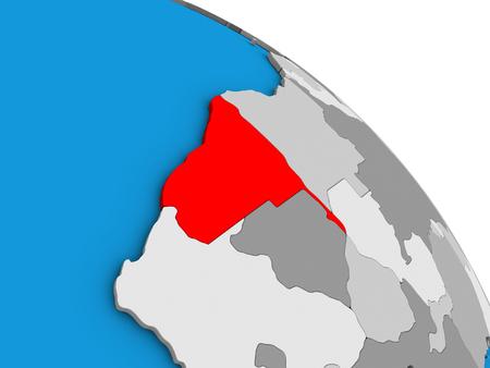 Namibia on simple blue political 3D globe. 3D illustration.