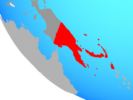 Papua New Guinea on simple globe. 3D illustration.