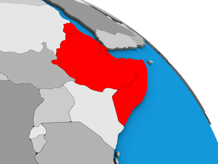 Horn of Africa on simple blue political 3D globe. 3D illustration.