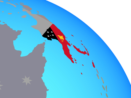 Papua New Guinea with national flag on simple blue political globe. 3D illustration.