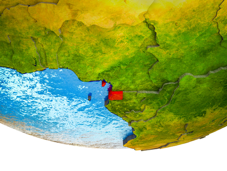 Equatorial Guinea on 3D Earth with divided countries and watery oceans. 3D illustration.