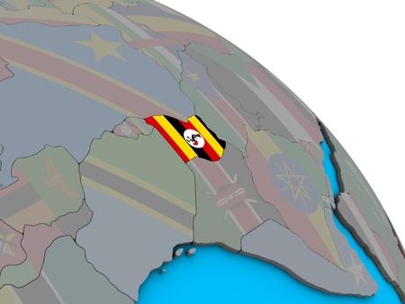 Uganda with embedded national flag on simple blue political 3D globe. 3D illustration. Stockfoto