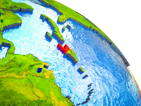 Haiti Highlighted on 3D Earth model with water and visible country borders. 3D illustration. Stock Photo