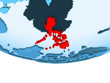Illustration of Philippines highlighted in red on blue globe with transparent oceans. 3D illustration. Stock Photo