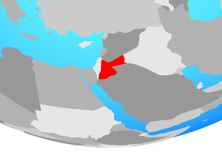 Jordan on simple political globe. 3D illustration.