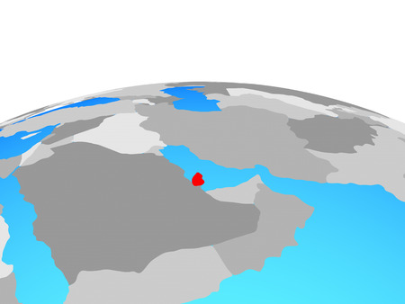 Qatar on political globe. 3D illustration.