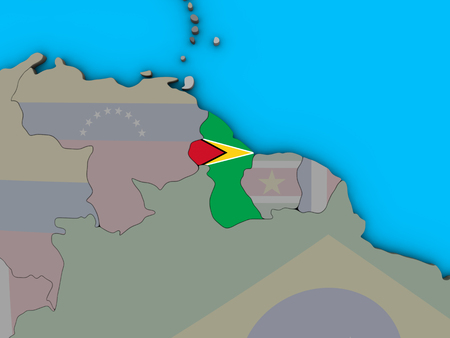 Guyana with embedded national flag on blue political 3D globe. 3D illustration. Stock Photo