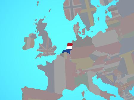 Netherlands with national flag on blue political globe. 3D illustration.
