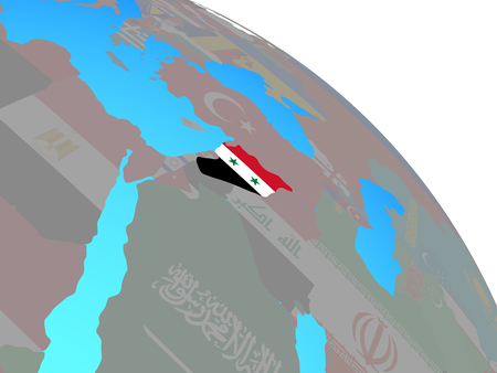 Syria with national flag on simple blue political globe. 3D illustration. Stock Photo