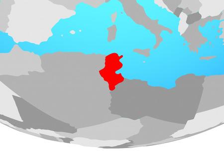 Tunisia on simple political globe. 3D illustration.