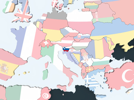 Slovenia on bright political globe with embedded flag. 3D illustration. Stock Photo