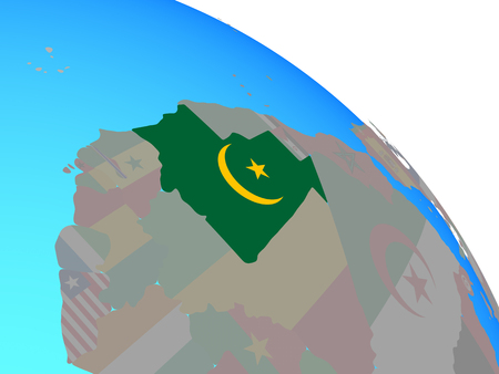 Mauritania with national flag on simple blue political globe. 3D illustration.