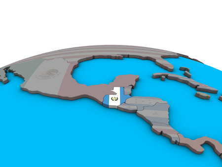 Guatemala with embedded national flag on political 3D globe. 3D illustration.