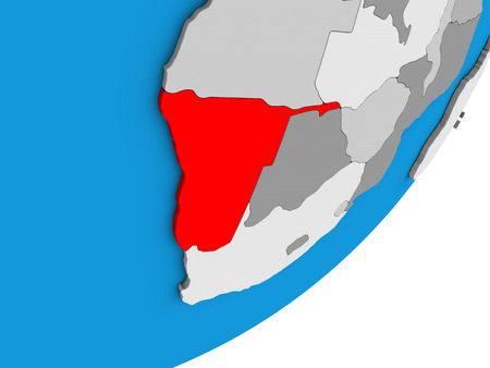 Namibia on blue political 3D globe. 3D illustration.