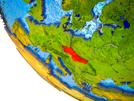 Former Czechoslovakia on model of Earth with country borders and blue oceans with waves. 3D illustration. Stok Fotoğraf