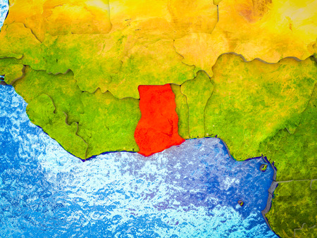 Ghana on model of 3D Earth with blue oceans and divided countries. 3D illustration.