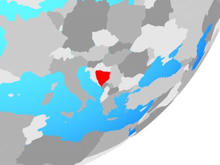 Bosnia and Herzegovina on blue political globe. 3D illustration.