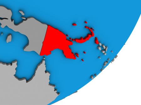 Papua New Guinea on blue political 3D globe. 3D illustration.