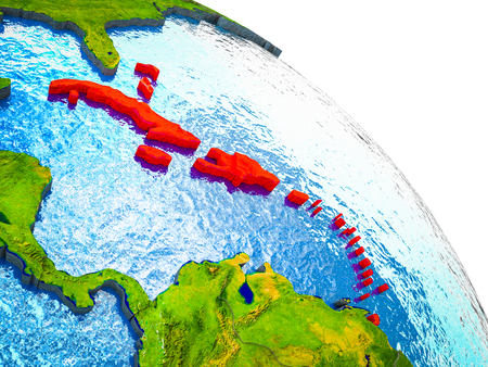 Caribbean Highlighted on 3D Earth model with water and visible country borders. 3D illustration.