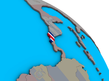 Costa Rica with embedded national flag on simple blue political 3D globe. 3D illustration. 版權商用圖片