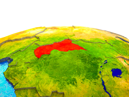 Central Africa on 3D Earth with visible countries and blue oceans with waves. 3D illustration.