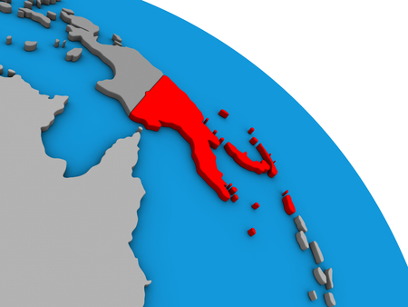 Papua New Guinea on simple blue political 3D globe. 3D illustration.