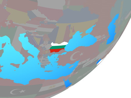 Bulgaria with embedded national flag on blue political globe. 3D illustration.