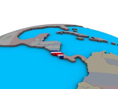 Costa Rica with embedded national flag on political 3D globe. 3D illustration. 版權商用圖片