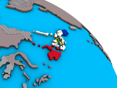 Philippines with embedded national flag on simple blue political 3D globe. 3D illustration.
