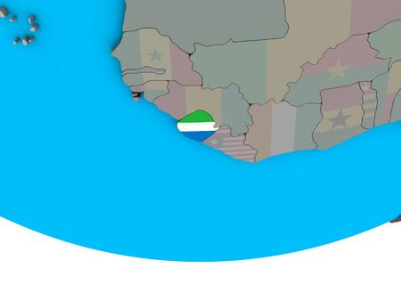 Sierra Leone with embedded national flag on simple political 3D globe. 3D illustration.