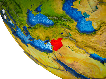 Syria on model of Earth with country borders and blue oceans with waves. 3D illustration. Stock Photo