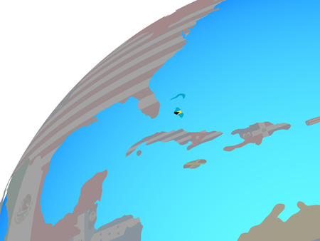 Bahamas with embedded national flag on globe. 3D illustration. Фото со стока