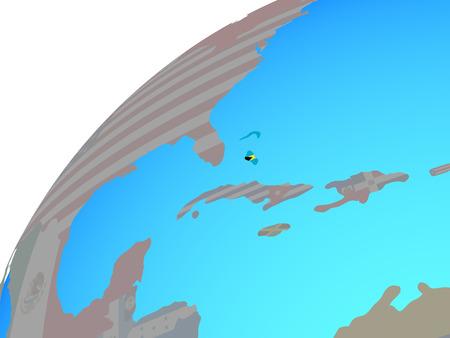 Bahamas with embedded national flag on globe. 3D illustration. Stock Photo