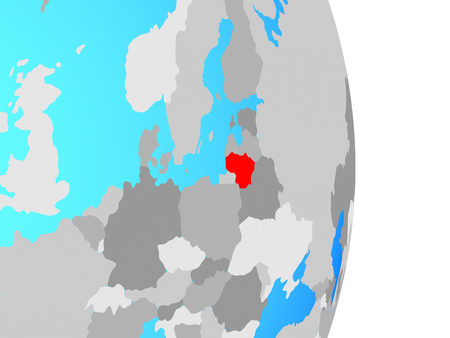 Lithuania on simple political globe. 3D illustration. Stock Photo