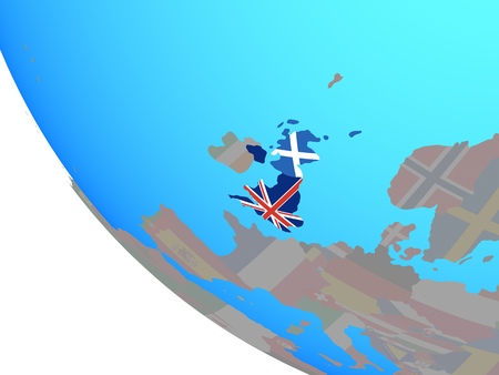 Scotland with national flag on simple globe. 3D illustration.