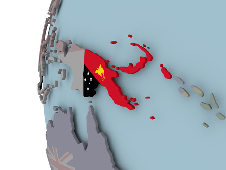 Papua New Guinea with embedded flag on political globe. 3D illustration.