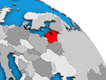 Baltic States on simple blue political 3D globe. 3D illustration.