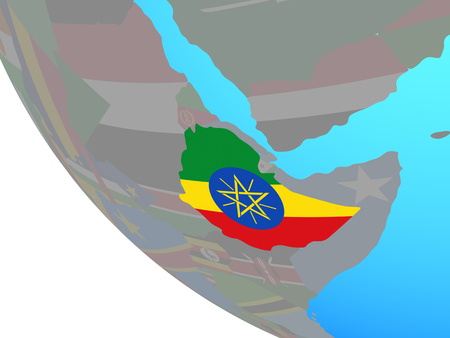 Ethiopia with national flag on simple globe. 3D illustration.