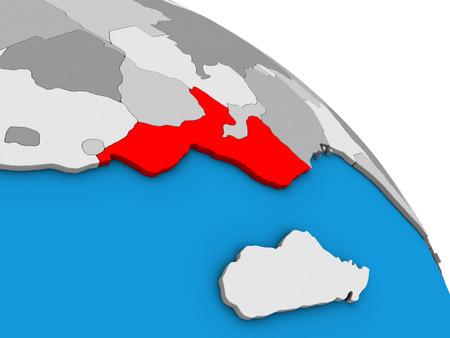 Mozambique on simple blue political 3D globe. 3D illustration. Standard-Bild - 109830031